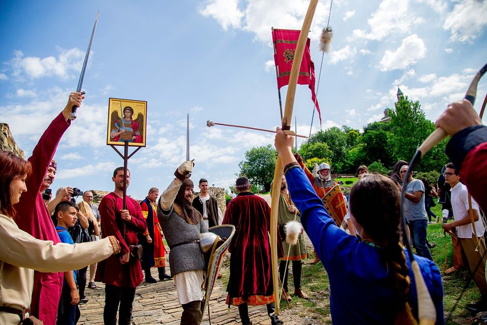 "Medieval camp ""Crown and Sword"" in June in Tsarevets Fortress"