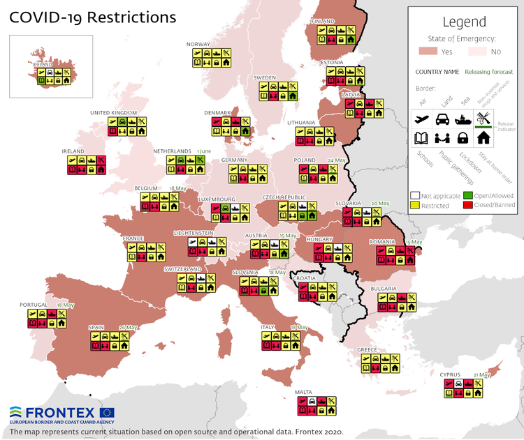 Frontex with a map of travel restrictions in Europe.