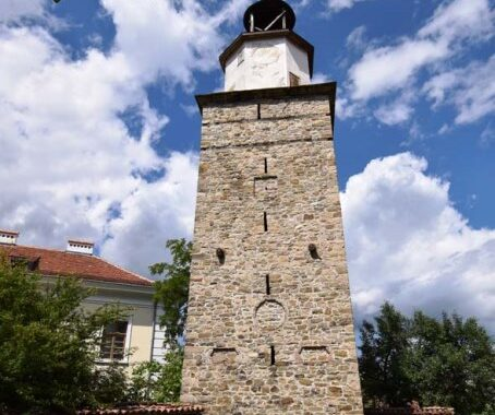 The 208-year-old clock tower - one of the symbols of Elena
