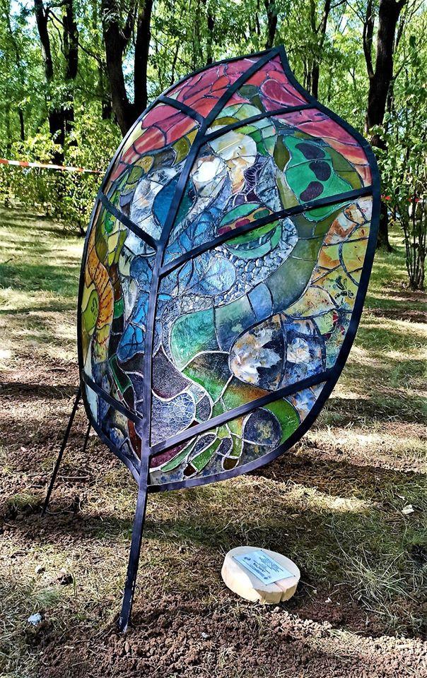 stained glass installation at Sveta Gora Park Veliko Tarnovo