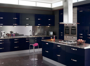 Beautiful-Blue-Kitchen-With-Blue-Kitchen-Clock